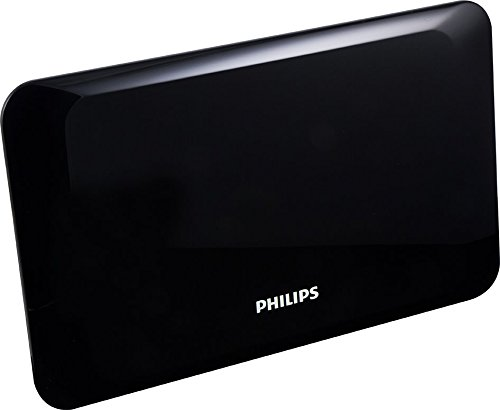 Philips SDV8311B/27 Flat Panel HD Amplified TV Antenna - Elegant Design with Stand and Dipoles - Indoor VHF/UHF High-Definition Antenna with Rabbit Ears - 40 Mile Range
