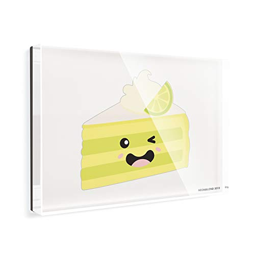 Acrylic Fridge Magnet Key Lime Pie Slice Cute, Kawaii Food with Face Japanese NEONBLOND - Key Lime Pie Slice