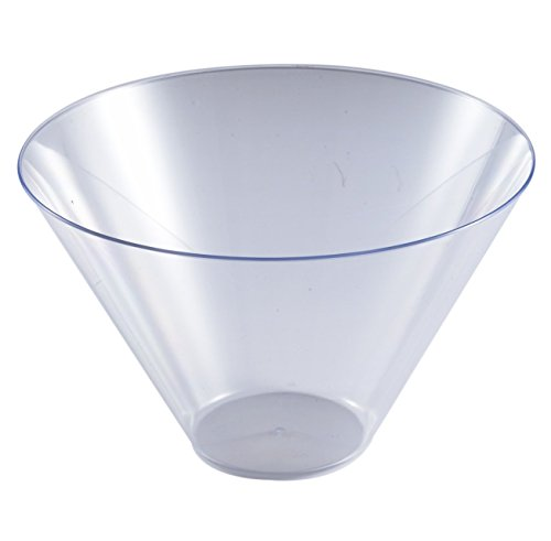 Disposable Elegant Plastic Serving Bowl - Heavyweight Fancy 96oz Round Clear Plastic Serving Bowls - Reusable Appetizer Bowl Party Set For Wedding, Christmas, Thanksgiving, Birthday & Other Occasions ()