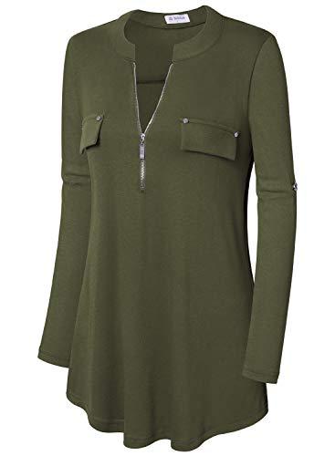 Bulotus Women's Plus Size Solid 3/4 Sleeve Zipper Top Casual Shirt,Green,XX-Large by Bulotus (Image #3)