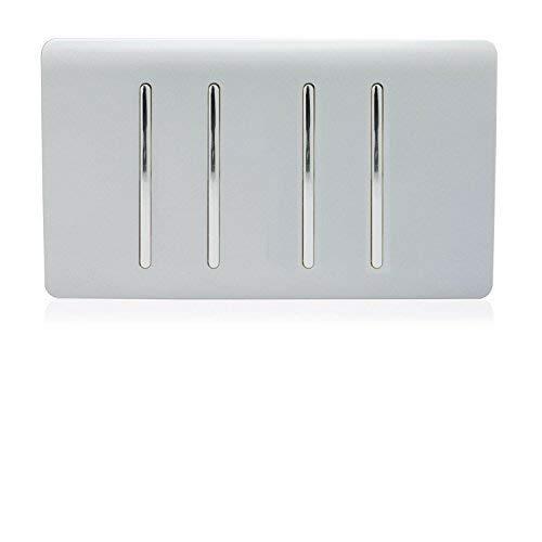 Trendi Artistic Modern Glossy 4 Gang 1 Way White Rocker Double Plate Tactile Light Switch in Silver Trendi Switch ART-SS33SI