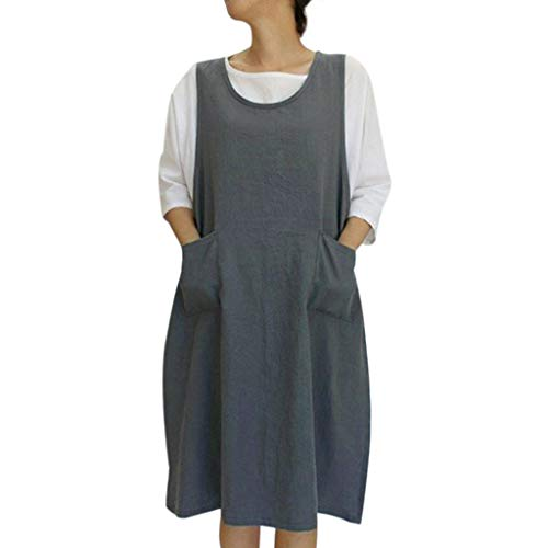 (Yanvan Casual Dresses, Women Cotton Tunic Dress Casual Apron with Pockets Japanese Style Pinafore Dress)