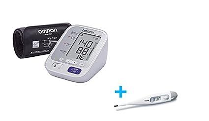 Omron M3 Comfort - Monitor de presión arterial automático de brazo, color blanco + Termómetro