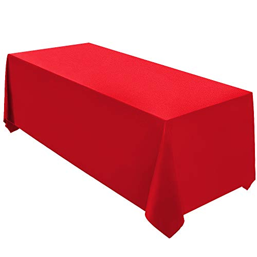 Surmente Tablecloth 90 x 132-Inch Rectangular Polyester Table Cloth for Weddings, Banquets, or Restaurants (Red) ... (Red Table Cloths Linen)
