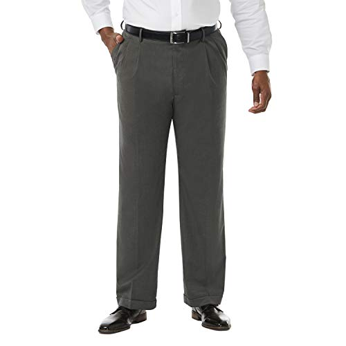 Haggar Men's Big and Tall Premium Stretch Solid Gabardine Expandable Waist Pleat Front Dress Pant, Charcoal, 50Wx32L ()