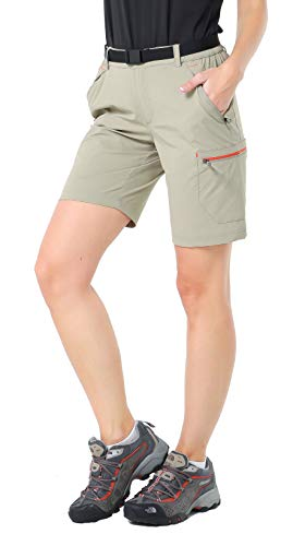 (MIER Women's Lightweight Cargo Shorts Outdoor Breathable Stretchy Hiking Shorts, Water Resistant & Quick Dry, Rock Grey, 12)