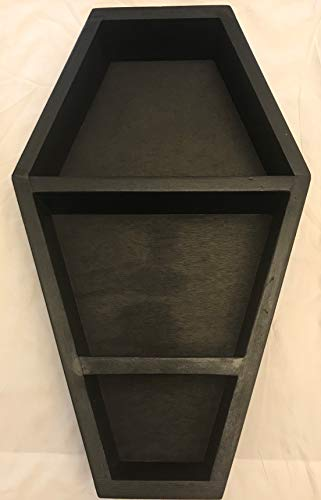 JOANNDLES Coffin Wall Shelf Black Solid Wood to Choose Dracula Style Gothic Home Decor 22-1/2 L x14-1/2 W x 3-1/2 D (Black Plain)