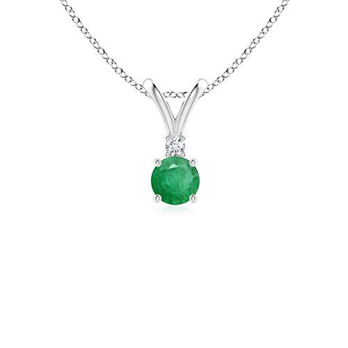 Round Emerald Solitaire V-Bale Pendant with Diamond in Silver (4mm Emerald) ()
