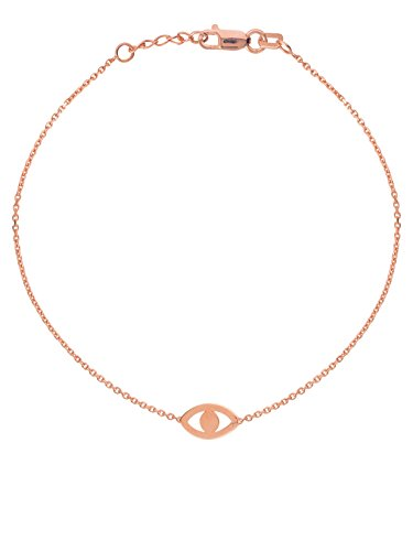 Eye 14k Solid Gold Bracelet - 14k Rose Gold Plain Evil Eye Bracelet East2West Collection