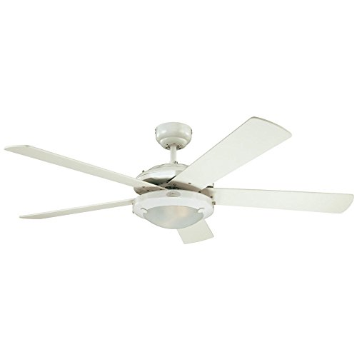 Westinghouse White Frosted Ceiling Fan - Westinghouse 7801720 Comet 52-Inch White Indoor Ceiling Fan, Light Kit with Frosted Glass