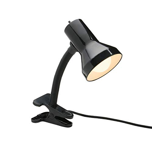 Black Deluxe Desk Lamp - Xtricity Desk Lamp with Clamp Base and Adjustable Gooseneck, 7W A19 LED Bulb Included, 120 Volt, Convenient On/Off Switch, 10.25 inches Tall (26cm), Black Finish