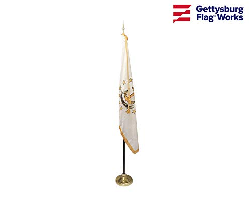 3x5' Rhode Island Indoor Flag Set, Includes Indoor Flag, Base, Pole, Spear Finial and Decorative Cord and Tassel (Finials Spears)