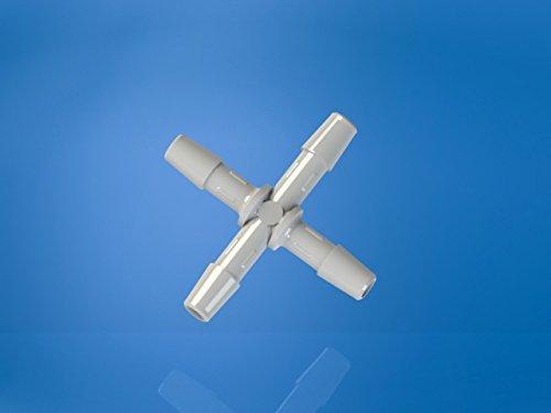 1//4 Hose Barb Eldon James X0-4HDPE High Density Polyethylene Cross Connector Fitting Pack of 10