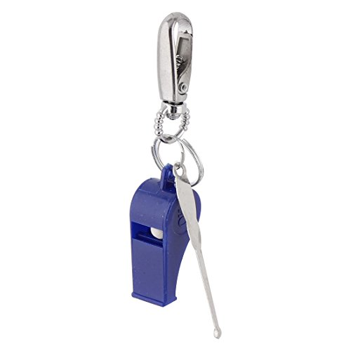 Household Travel Metal Earpick Whistle Pendant Hook Clasp Keyring Keychain 3pcs Blue,Silver (Whistle Clasp)