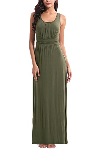 Green Soft Dress - Zattcas Womens Summer Casual Sleeveless Tank Maxi Dress Scoop Neck Empire Vintage Long Dresses (Small, Army Green)