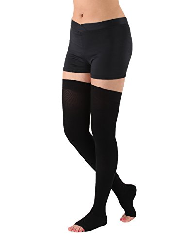 Absolute Support Thigh High Compression Stockings Silicone Border, Black – 2XL