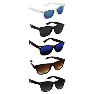 Silver Kartz UV 400 Protection Unisex Sunglasses (aio5, Black) – Pack of 5