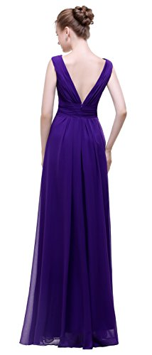 Esovr Evening Neck Gown Dresses Dresses Long Dark Purple Chiffon Prom Formal Bridesmaid esvor V aRdwqYY