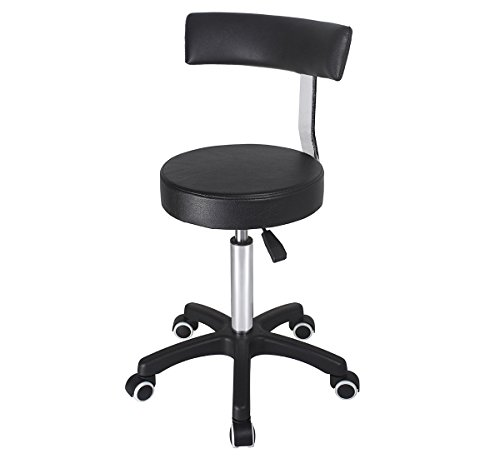 Karrie Stool with wheels and back, swivel rolling drafting stool, hydraulic adjustable height heavy duty chair by Karrie