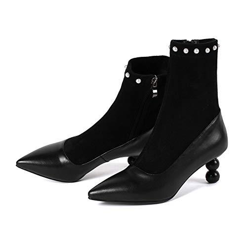 Best 4U Damen Echtleder Stiefeletten Herbst Winter Echtleder Damen Schuhe Mit Pearl Decor Zipper Einfarbig b69678