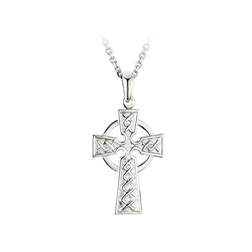 "Celtic Cross Necklace Sterling Silver Embossed 18"" Exclusive Chain"