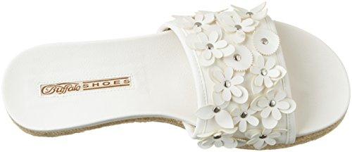 Dames En Cuir De Buffle 316-4162 Sandales Pu Ouvert Avec Blanc Talon Compensé (blanc)