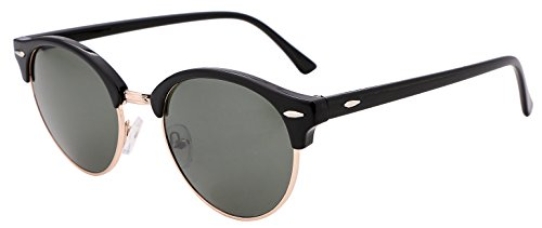 FEISEDY Classic Semi-rimless Round Frame Plastic Lens Sunglasses for Men Women - Clubmaster Round