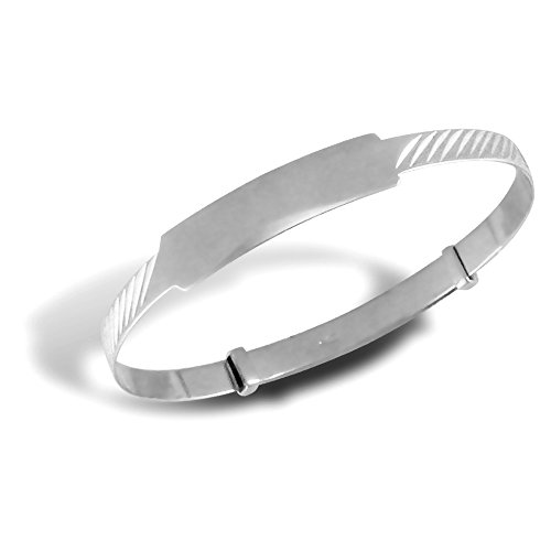 Jewelco Londres bébé solide or blanc 9K nervuré id 3mm expansion bracelet rigide