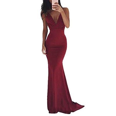 Women's Sleeveless Spaghetti Strap Backless Maxi Dress