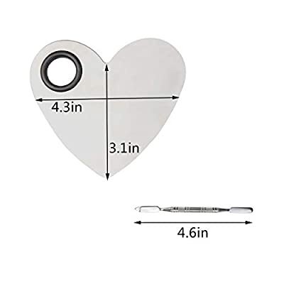 obmwang Stainless Steel Heart Shaped Makeup Palette Spatula - Makeup Artist Makeup Enthusiast Tools for Blending Cosmetic Foundation Shades