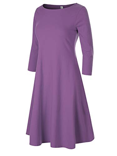 Sheath Column Strapless (Design by Olivia Women's Classic 3/4 Sleeve Round Hem Swing Flared Tunic Dress with Side Pockets Lilac S)