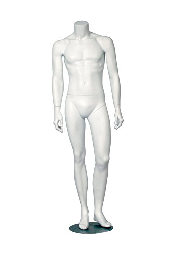 AMKO ERIC-2 Headless Male Mannequin, Left Leg Out, 38'', Matte White by AMKO