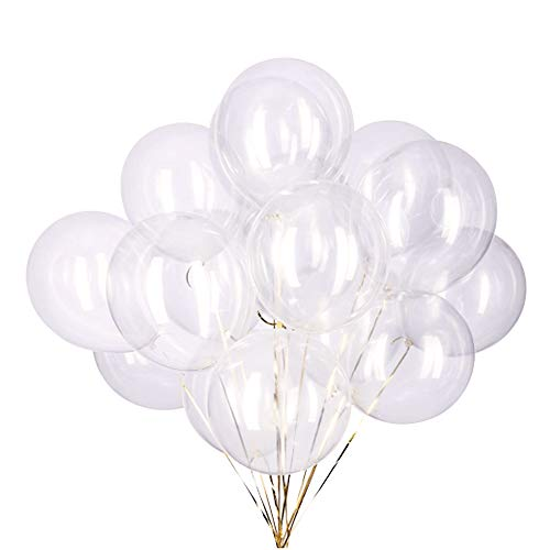 CC Wonderland 12 inch Clear Balloons Transparent Balloons Party Latex Balloons Quality Helium Balloons, Party Decorations Supplies Balloons, 3.2g/pcs, Pack of 50