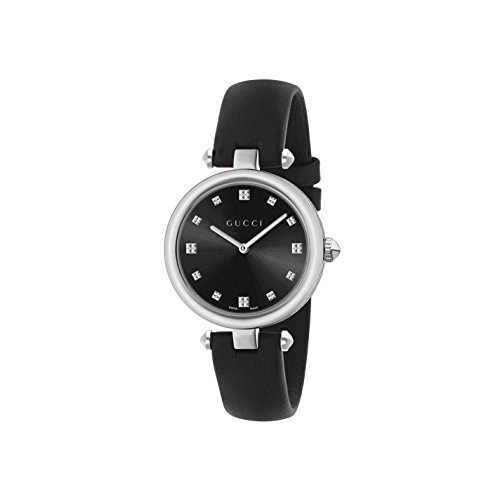 Gucci Women's Swiss Quartz Stainless Steel and Leather Dress Watch, Color:Black (Model: YA141403)
