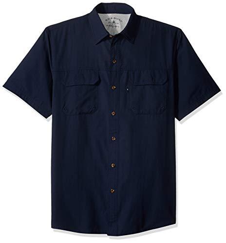 (G.H. Bass & Co. Men's Explorer Short Sleeve Button Down Fishing Shirt Solid Flap Pocket, Navy Blazer, Large)