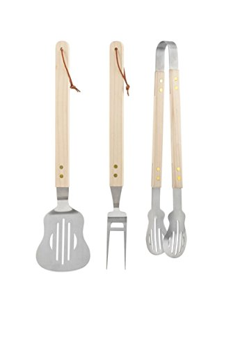 Kikkerland CU212 Rockin' BBQ Set (Set of 3), Brown