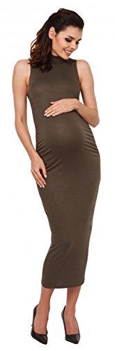 Zeta Ville - Premamá vestido corte entallado - cuello alto - para mujer - 027c Caqui