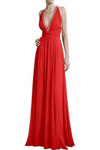 Olive Ausschnitt Abendkleider Chiffon La Rot Gruen Celebrity Kleider Partykleider Damen V Braut Lang mia qww1RpT