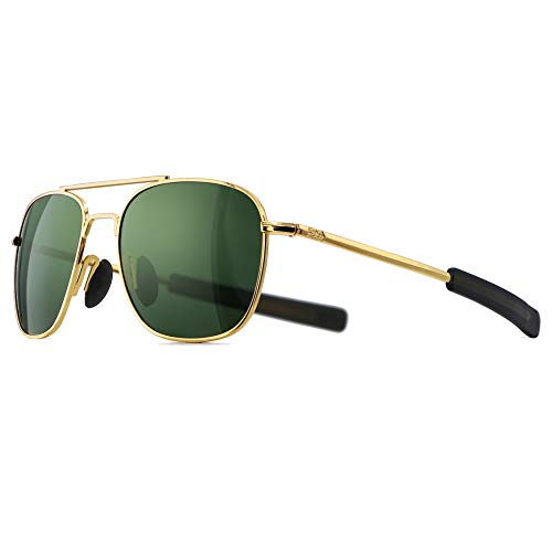 SUNGAIT Men's Military Style Polarized Pilot Aviator Sunglasses - Bayonet Temples (Gold Frame/Green Lens, 55) A285JKLV (Randolph Engineering Case)