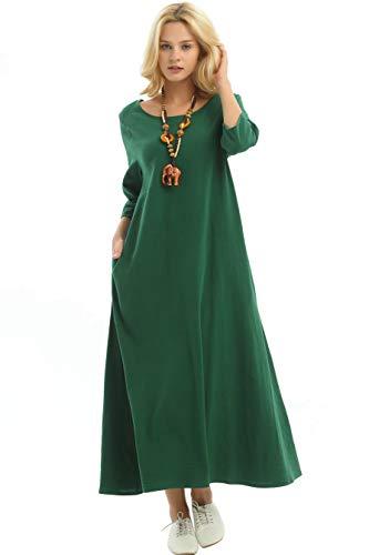 Anysize Three Quarter Sleeve Linen Cotton Spring Summer Plus Size Dress F140A