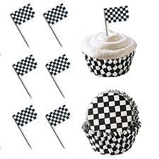 Checkered Flag Race Car Cupcake Toppers and Baking Liners Food Picks Party Black White Pack of 24