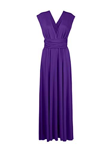 Clothink Women Convertible Wrap Bridesmaid Wedding Sleeveless Maxi Party Dresses Purple