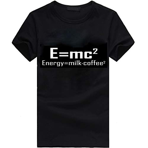 Danhjin Women Men Shirt Casual E=MC2 Energy = (Milk x Coffee) 2 Print Blouse Short Sleeve Round Neck Tops (Black)