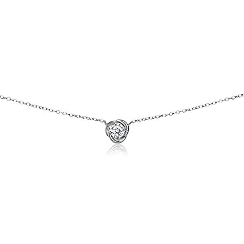 Sterling Silver Knot Clasp (Sterling Silver Cubic Zirconia Rose Love Knot Dainty Choker Necklace)
