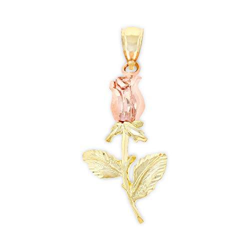 Charm America - Gold Long Stem Rose Charm - 10 Karat Solid Gold (Long Stem Rose Charm)