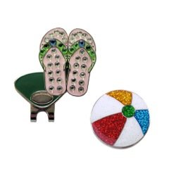 Pink Flip Flop Crystal and Beach ball Glitzy Ball Marker Combo with ONE Magnetic Hat (Crystal Ball Clip)
