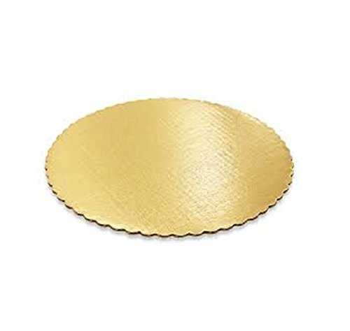 SafePro 10RGS, 10-Inch Gold Round Scalloped Cardboard Pads, 0.08 Inches Thick Non Grease Proof Cake Circles Trays (50) (Circle Shapes Scalloped)