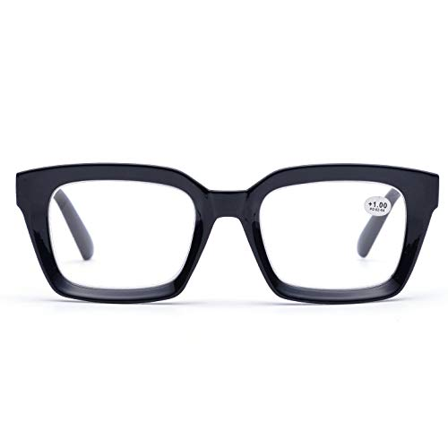 Retro Desinger 50mm Large Lens Square Reading Glass Big Eyeglass Frames (Black, ()