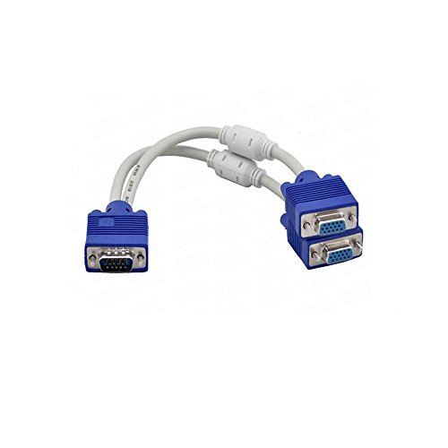 SAYTAY VGA Monitor Y-Splitter Cable,VGA 1 Male to Dual 2 VGA Female Adapter Converter Video Cable for Screen Duplication - 1 Foot