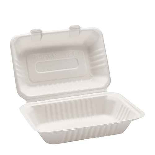 Morex Compostable Clamshell Hinged Food Container, 6 in. x 9 in. x 3 in, 250 Containers ()